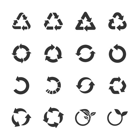 raw materials: recycle icon set