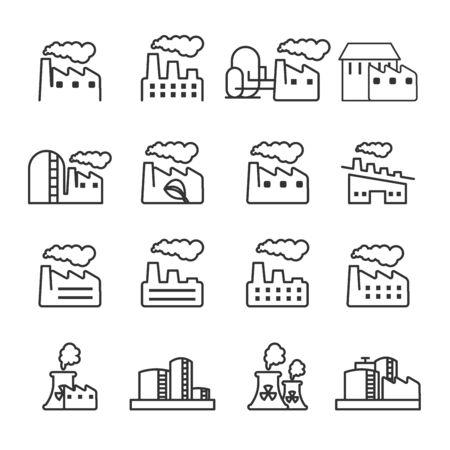 thin line factory plant building icon set