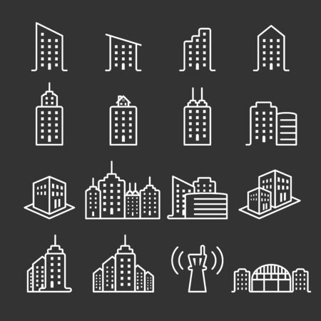 thin line building icon