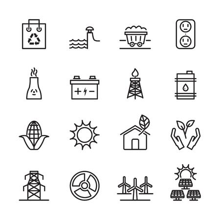thin line ecology energy icon set Vetores