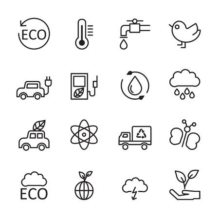 thin line ecology energy icon set