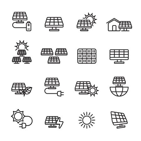 thin line solar power icon set