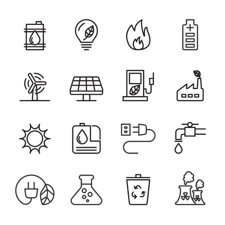 thin line ecology icon set