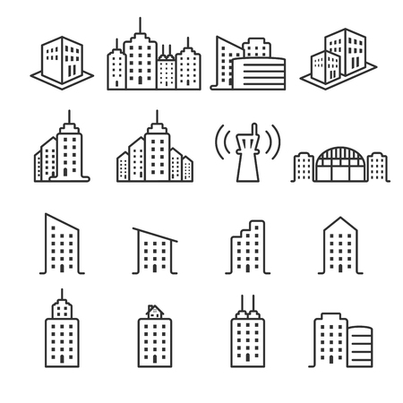 thin line building icon set Illustration