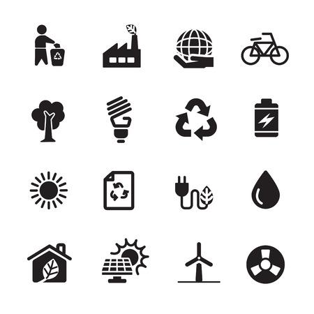 zero emission: ecology energy icon set, vector eps10.