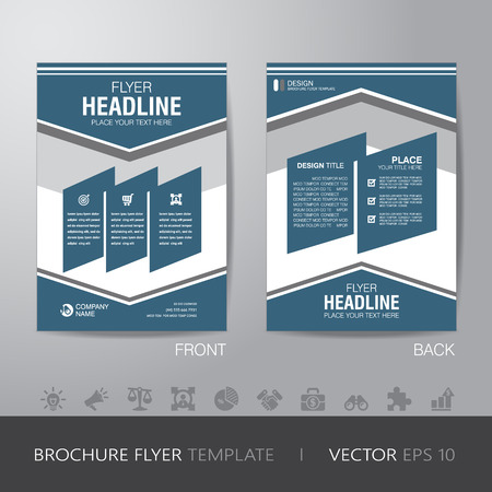 bleed: simple business brochure flyer design layout template in A4 size, with bleed, vector eps10. Illustration
