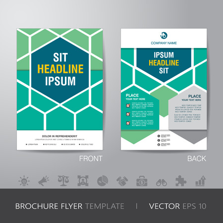page design: hexagonal business brochure flyer design layout template in A4 size, with bleed, vector eps10.