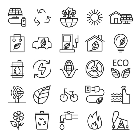 thin line ecology icon set, vector eps10.