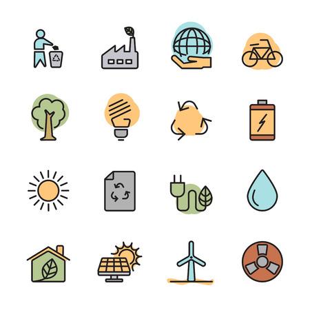 color flat ecology energy icon set, vector eps10. Illustration