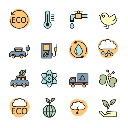 color line ecology energy icon set 2, vector eps10.