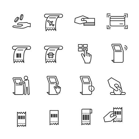 Kiosk line icon set