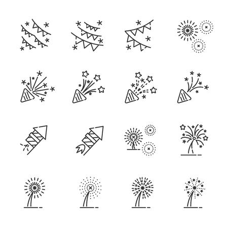 firework line icon set 4, vector . Illustration