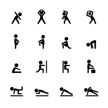 exercise fitness icon set