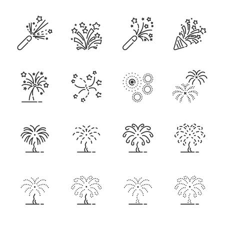 firework line icon set.