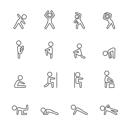exercise fitness line icon set. Illustration