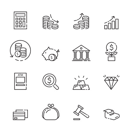 finance thin line icon set.
