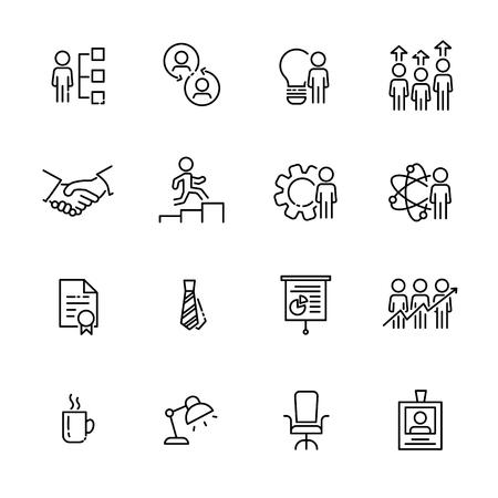 Business work icon set, vector. Illustration