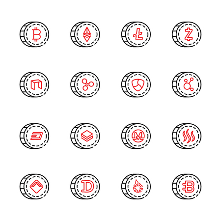 cryptocurrency thin line icon set 9, vector eps10. Illustration