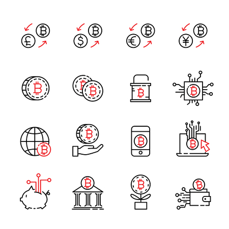 cryptocurrency thin line icon set 6, vector eps10.