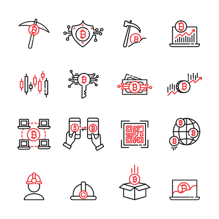 cryptocurrency thin line icon set 7, vector eps10. Illustration