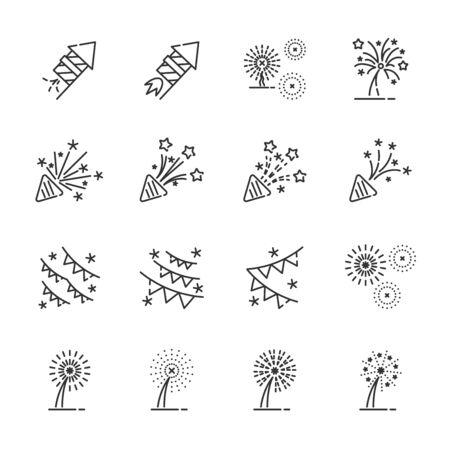 vettore di set di icone di fuochi d'artificio Vettoriali