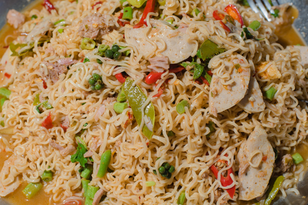 Noodle spicy salad,Yummy Thai spicy noodles mix.