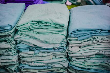 Rows of fabrics for  patients in hospital. Stockfoto