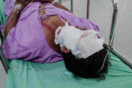 Pacientes con herida grave en la cara.