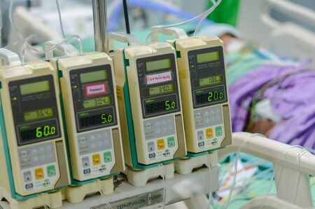 Infusion pump using for treatment patient in ICU at the hospital.