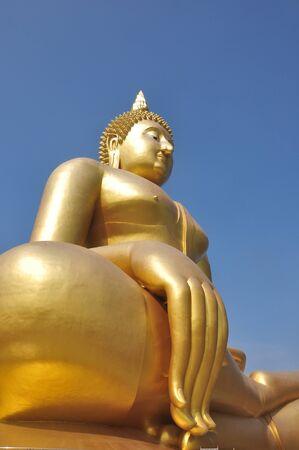 The Beautiful Statue Buddha at Wat Muang Temple Angthong Thailand photo