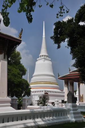 actuary: The Big White Pagoda in temple of Wat Yai Chaimongkol Ayutthaya Thailand