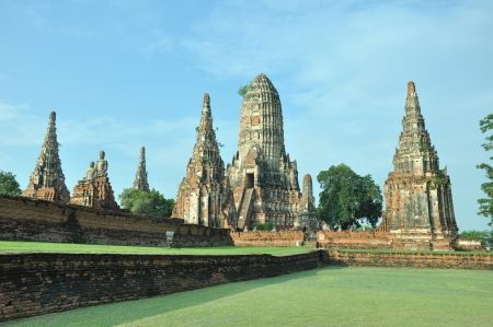 Aligned Pagoda at Wat Chaiwattanaram Temple in Ayutthaya was the old capital of Thailand Stock Photo - 17001978