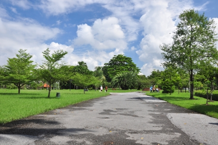 joint effort: Suan Luang Rama IX Public Park was a Fun joint effort for relaxing Stock Photo