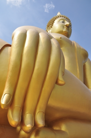 The Big Golden Buddha at Wat Muang Angthong , Thailand photo