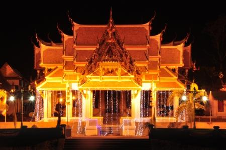 The Lighting show at Wat Kasattrathirach Ayutthaya,Thailand Stock Photo - 17208598
