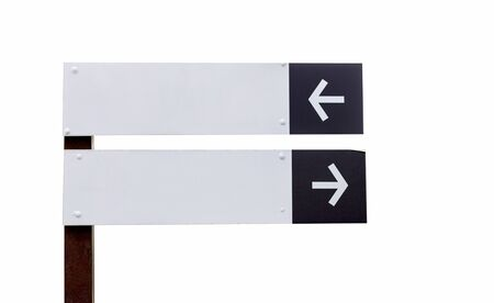 Black and white sign board with left and right arrows Stok Fotoğraf