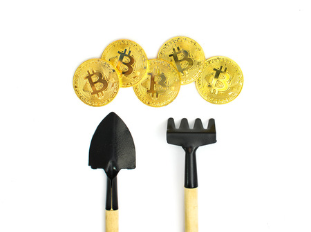 Bitcoin Mining, Golden bitcoins in hand. Digital symbol of a new virtual currency on isolate background.