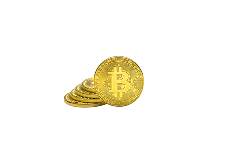 golden bitcoins with isolate. Stock fotó
