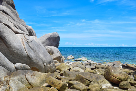 The stone on the beach with blue sea at Koh Chang island in Thailand Stock fotó