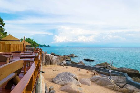The balcony resort and blue sea with beautiful blue sky at Koh Chang island in Thailand Stock fotó