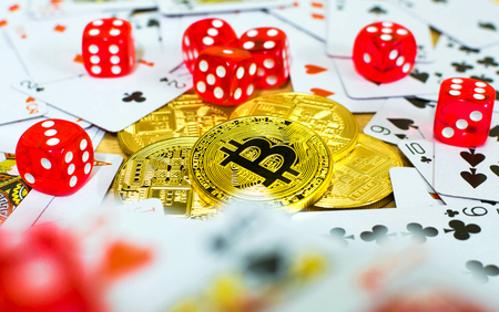 golden bitcoin red dice and card, gambling concept
