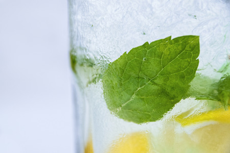 Side Angle View Of Fresh Mojito In Glass With Spearmint Leaves Ice Cubes And Lemon Slices Stock Photo