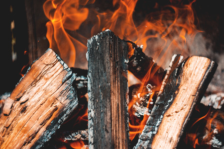 Close-Up Of Intricately Burning Campfire With Beautiful Flames And Charcoal