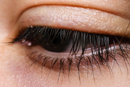 Close-Up Of Beautiful Eye With Brown Iris And Eye Lashes Looking Away From Camera