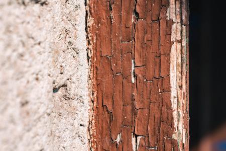 Texture Of Crumbling Brown Paint On Edge Of Old Door