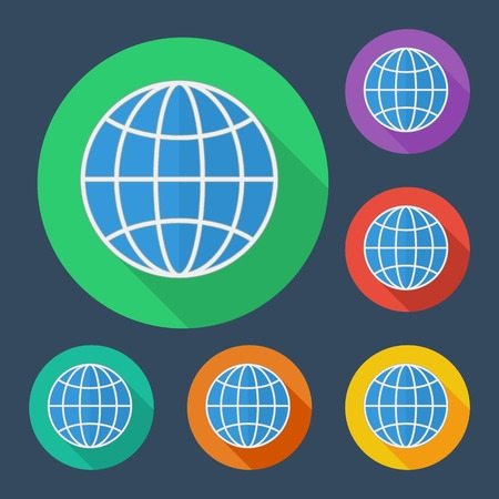 information median: Earth globe icon with long shadow - illustration, six colors set, easy paste to any background