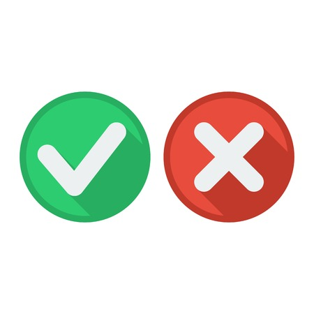 disagree: Flat style icons with long shadow. Delete and tick or check and cross marks