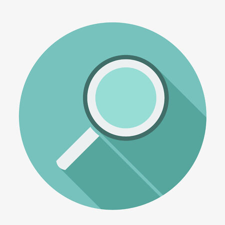 magnyfying glass: Single flat magnifying glass icon with long shadow  Vector illustration, easy paste to any background