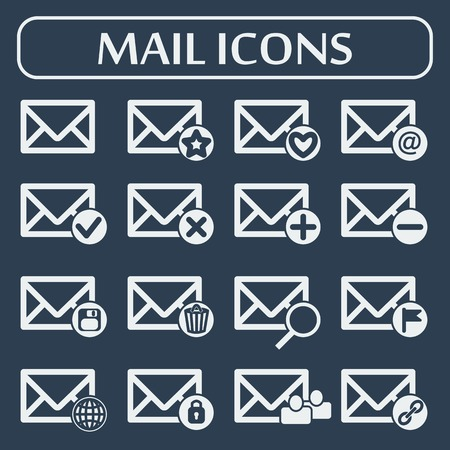 Mail icons for web applications  Vector illustration  Social networking and communication  Vector