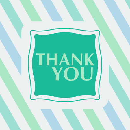 thanks a lot: Thank you note on the striped background  vector illustration